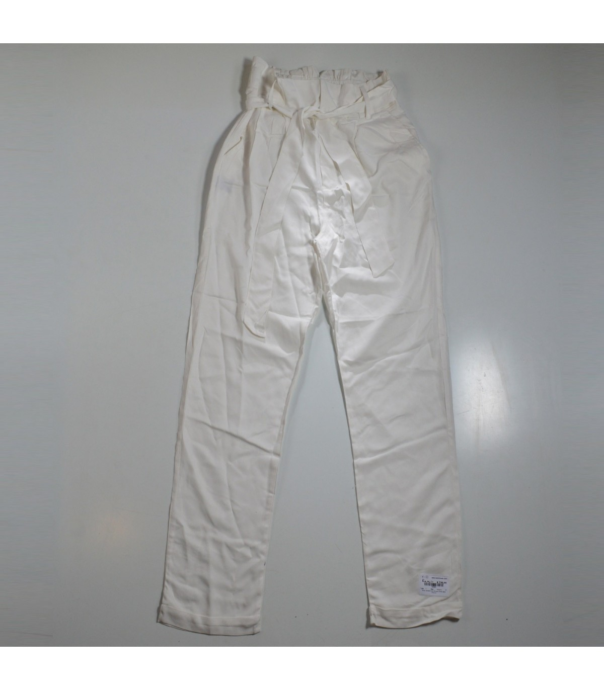 Mujer Pantalon Tipo Fibrana Frente Tabla Cinturon
