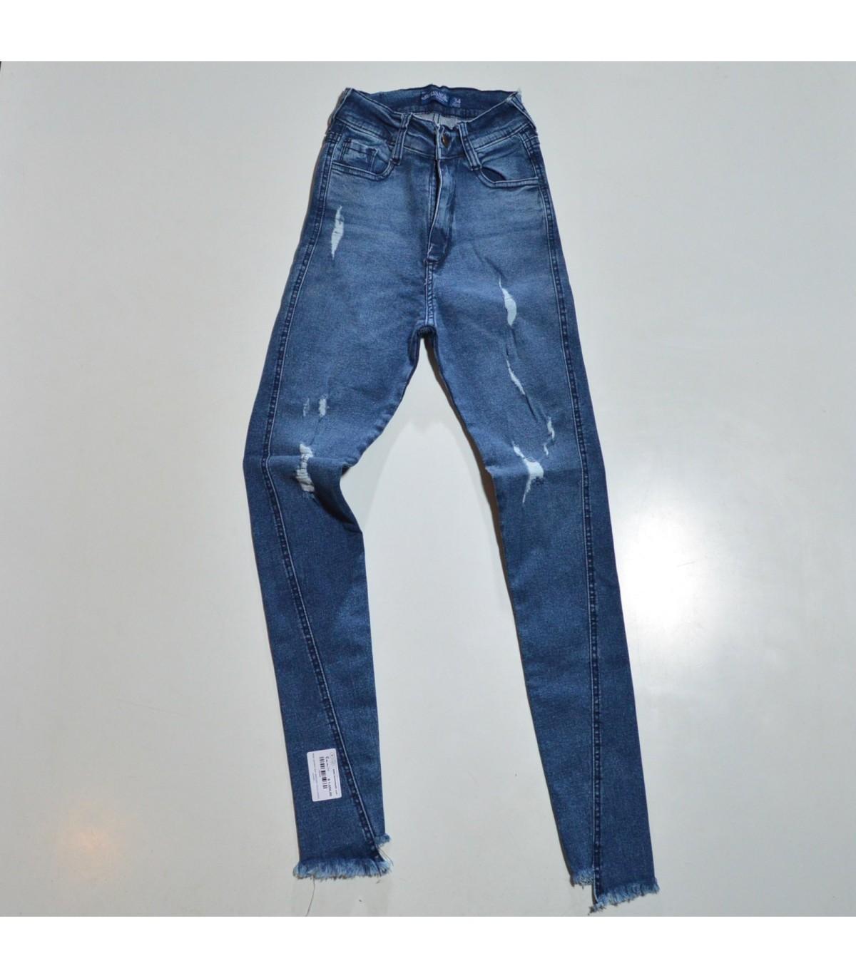 Mujer Pantalon Jean Elastizado Rotura Costura Cruzado