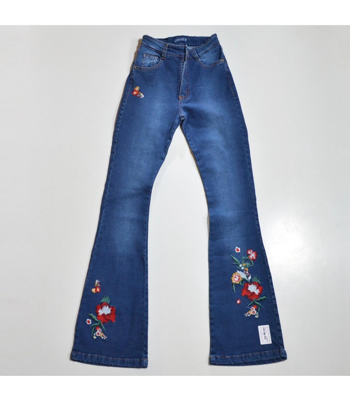 Mujer Pantalon Jean Elastizado Oxford Botamanga Bordada