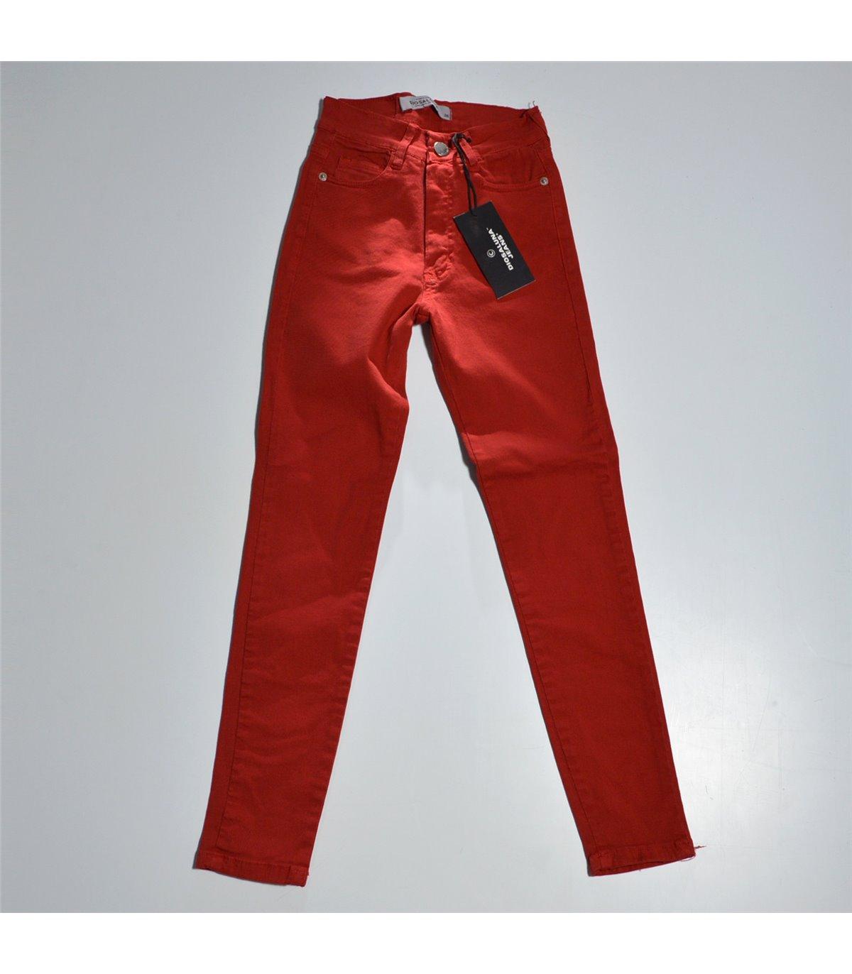 Mujer Pantalon Gabardina Color Elastizado